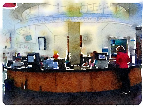 PB Library Circulation Desk; watercolor by Richard Busch