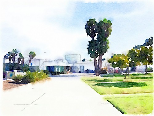 PB Library Panorama; watercolor by Richard Busch